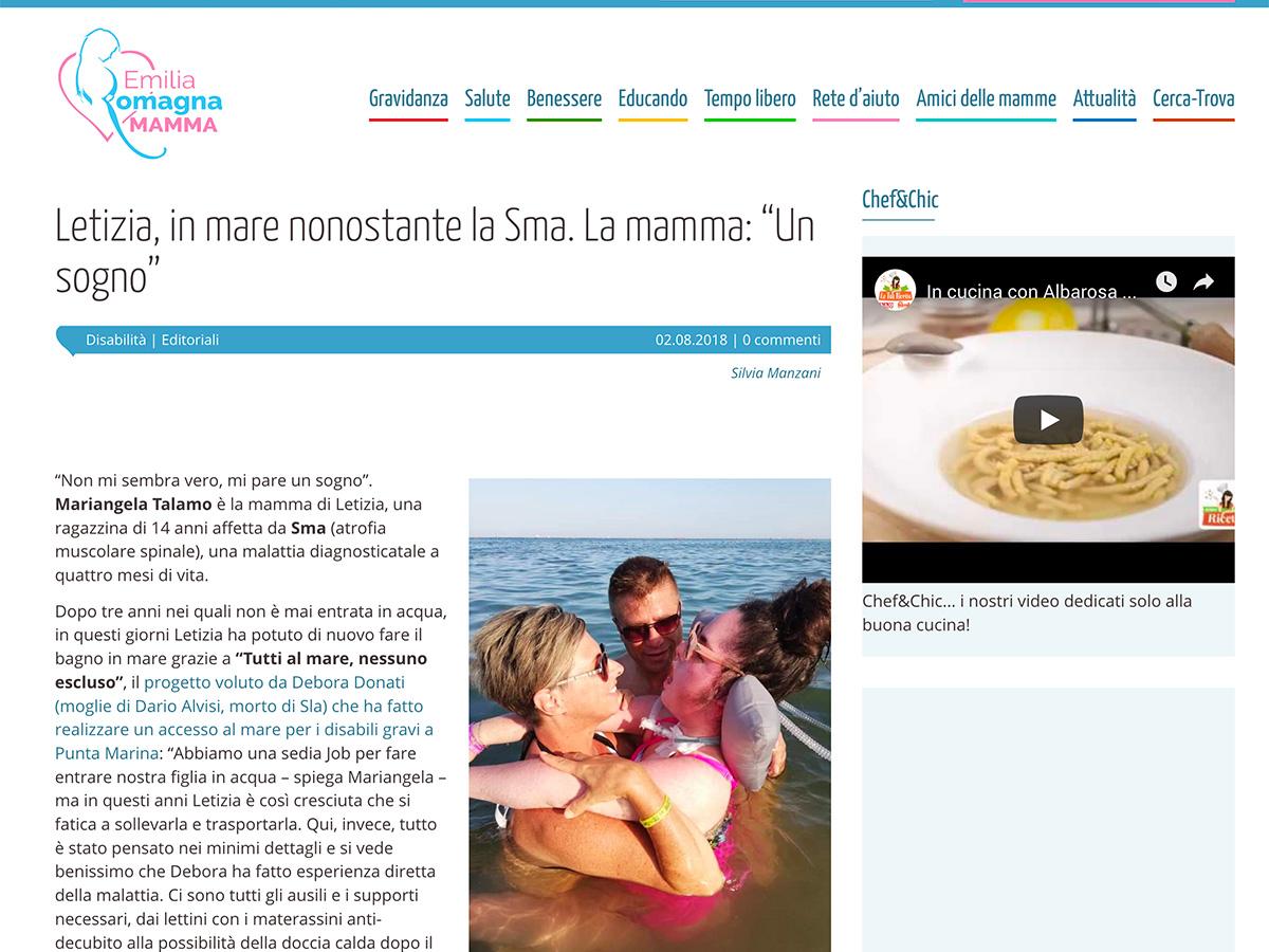 Emilia Romagna Mamma parla di Insieme a te e la sua spiaggia