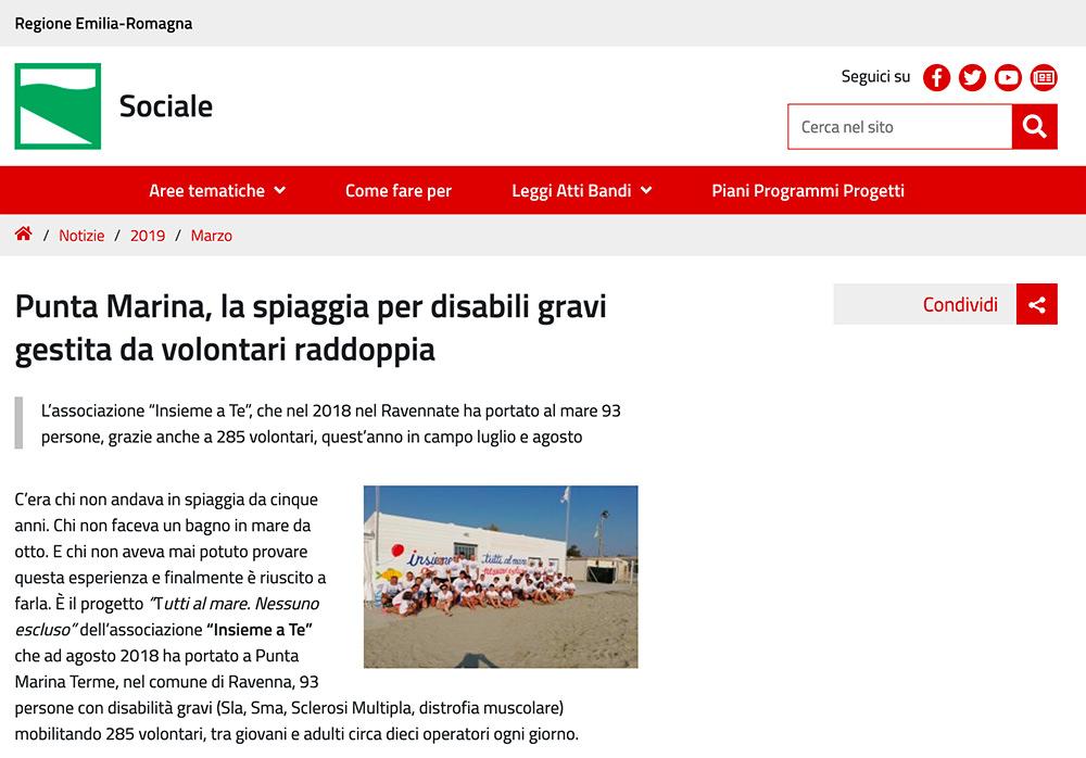 Si parla di noi anche sul portale della Regione Emilia Romagna