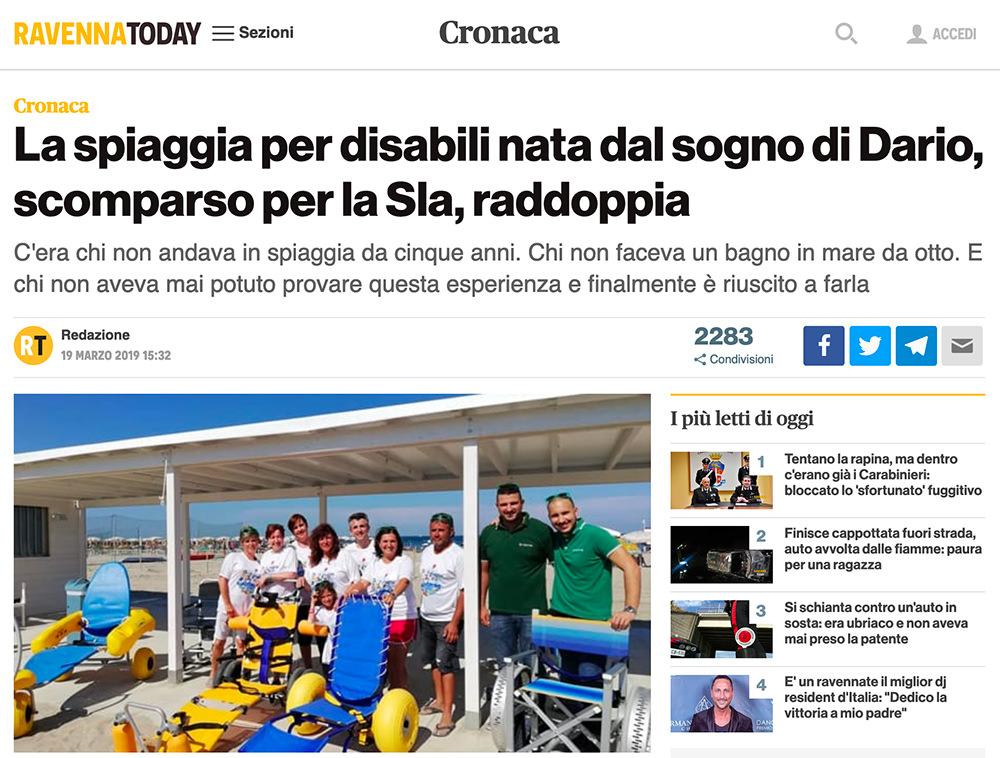 """La nuova stagione della spiaggia """"Tutti al mare, nessuno escluso"""" sul sito Ravenna Today"""
